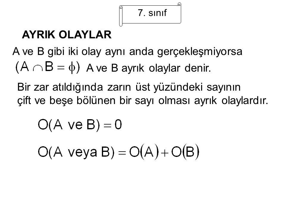 A ve B gibi iki olay aynı anda gerçekleşmiyorsa