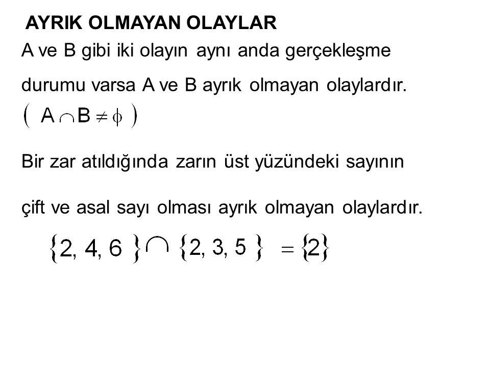 AYRIK OLMAYAN OLAYLAR A ve B gibi iki olayın aynı anda gerçekleşme. durumu varsa A ve B ayrık olmayan olaylardır.