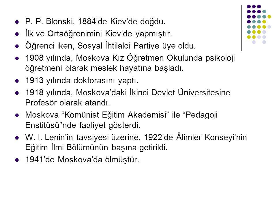 P. P. Blonski, 1884'de Kiev'de doğdu.