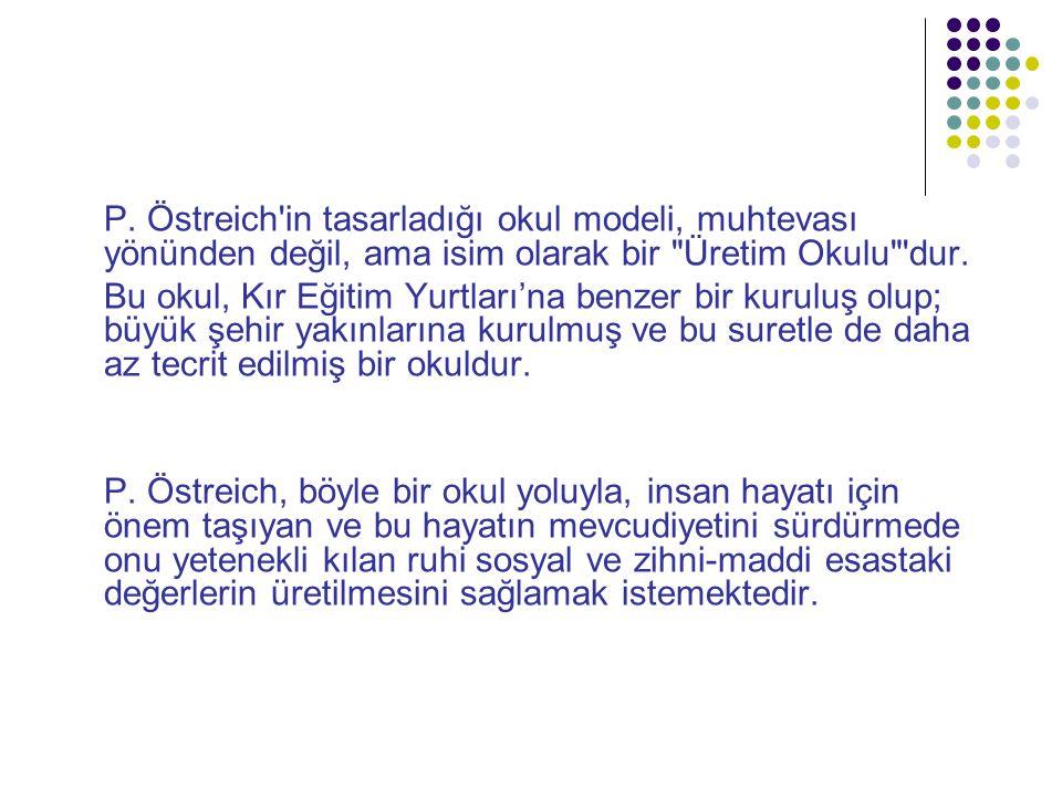 P. Östreich in tasarladığı okul modeli, muhtevası yönünden değil, ama isim olarak bir Üretim Okulu dur.