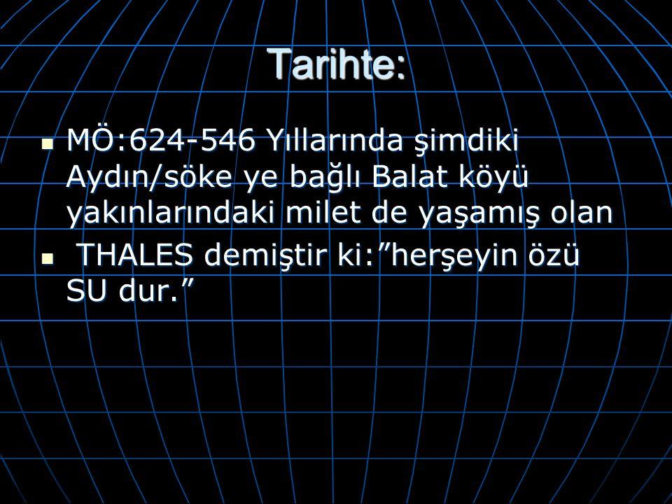 Tarihte: MÖ:624-546 Yıllarında şimdiki Aydın/söke ye bağlı Balat köyü yakınlarındaki milet de yaşamış olan.