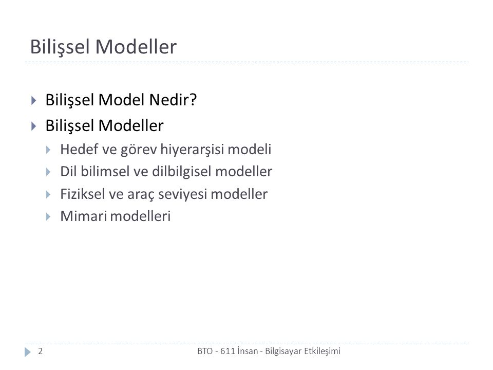 Bilişsel Modeller Bilişsel Model Nedir Bilişsel Modeller