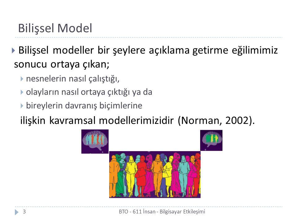 Bilişsel Model Bilişsel modeller bir şeylere açıklama getirme eğilimimiz sonucu ortaya çıkan; nesnelerin nasıl çalıştığı,