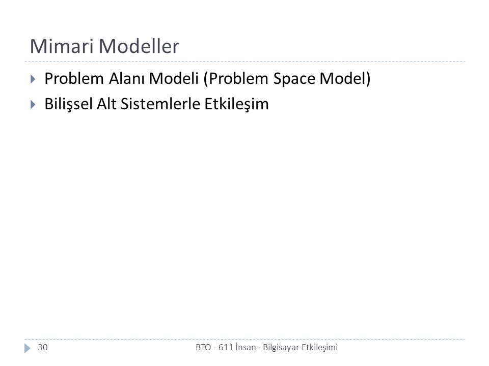 Mimari Modeller Problem Alanı Modeli (Problem Space Model)