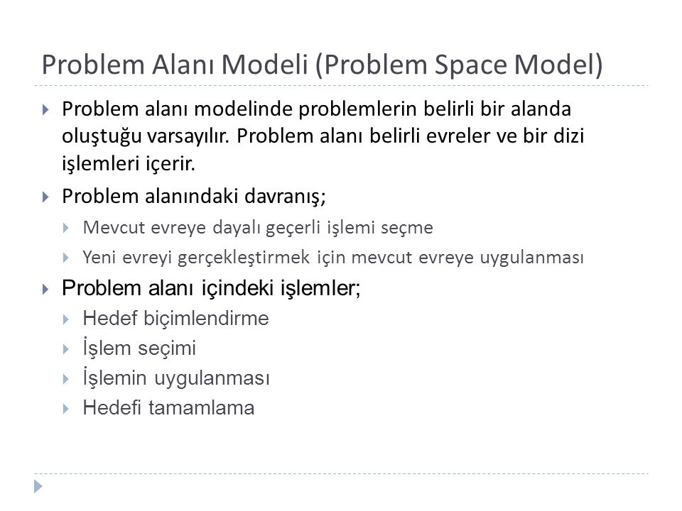 Problem Alanı Modeli (Problem Space Model)