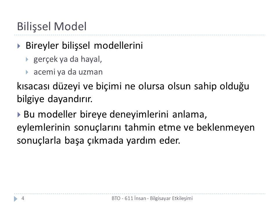 Bilişsel Model Bireyler bilişsel modellerini. gerçek ya da hayal, acemi ya da uzman.