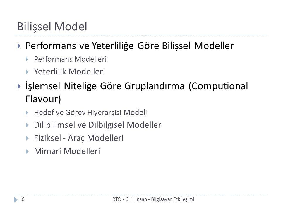 Bilişsel Model Performans ve Yeterliliğe Göre Bilişsel Modeller