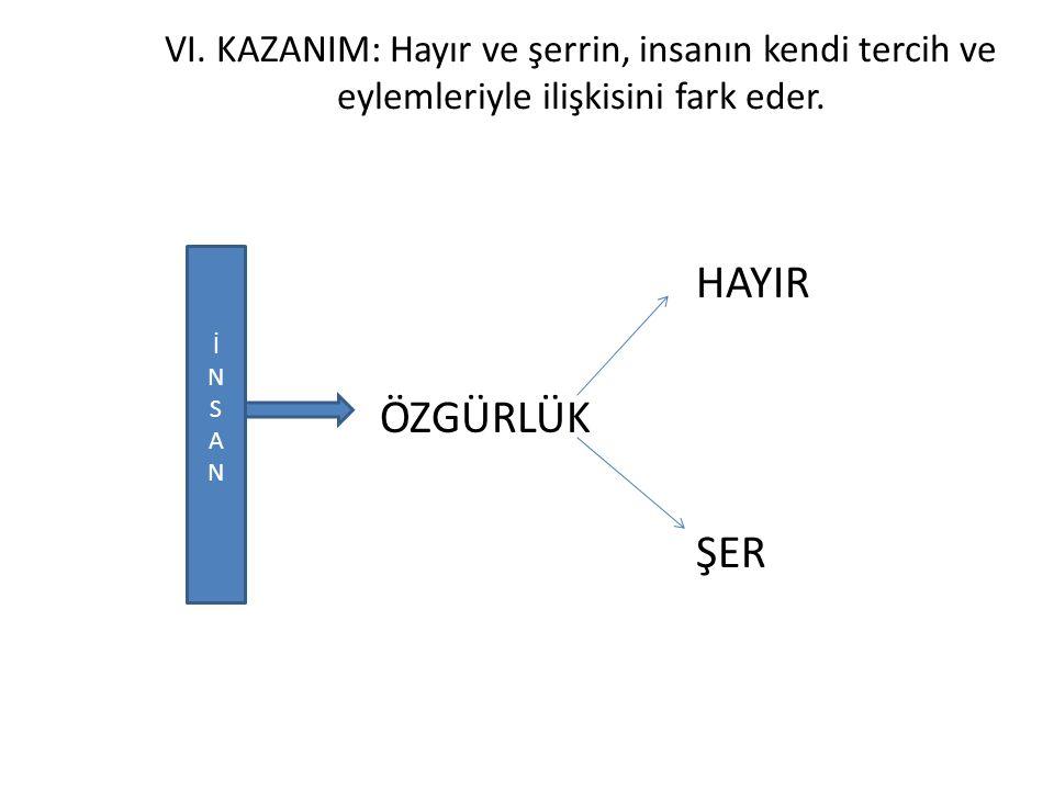 VI. KAZANIM: Hayır ve şerrin, insanın kendi tercih ve eylemleriyle ilişkisini fark eder.
