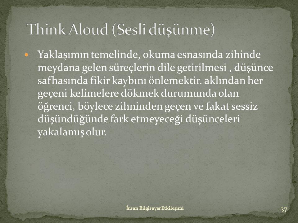 Think Aloud (Sesli düşünme)