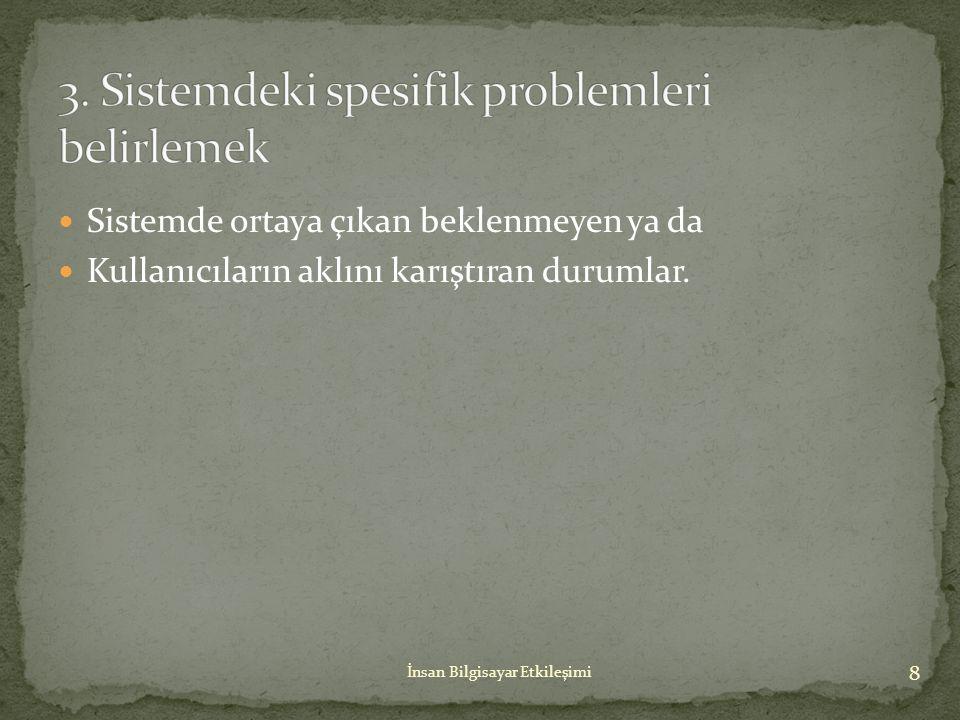 3. Sistemdeki spesifik problemleri belirlemek