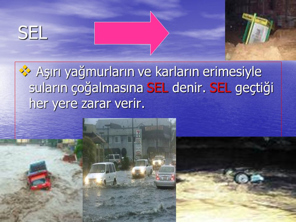 SEL Aşırı yağmurların ve karların erimesiyle suların çoğalmasına SEL denir. SEL geçtiği her yere zarar verir.