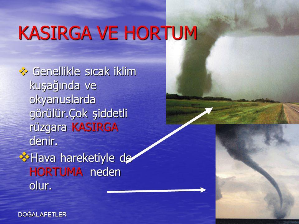 KASIRGA VE HORTUM Hava hareketiyle de HORTUMA neden olur.