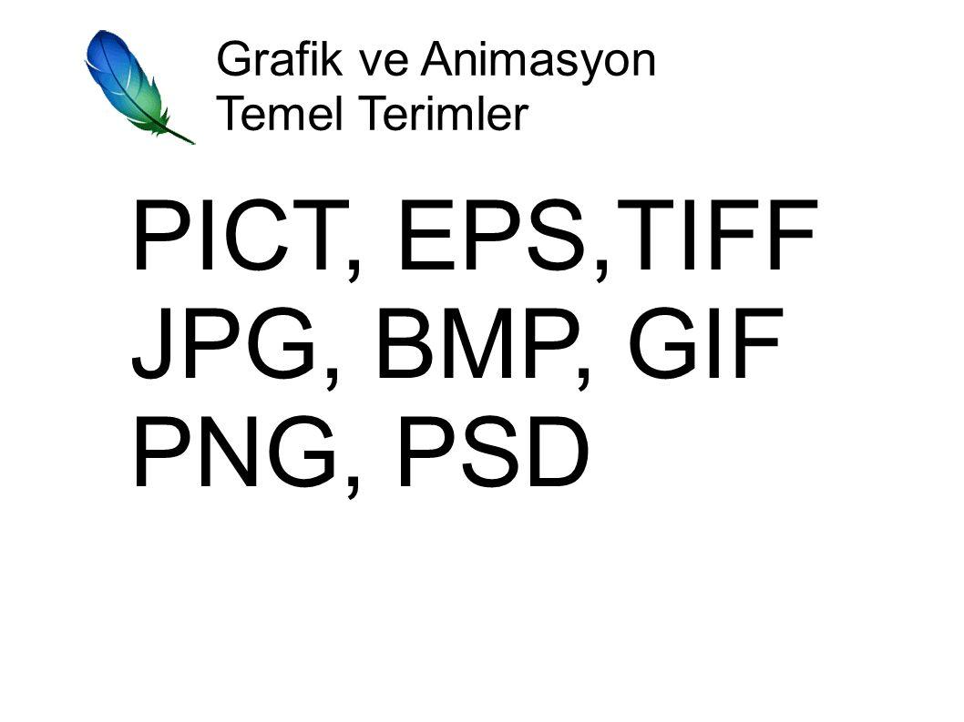 PICT, EPS,TIFF JPG, BMP, GIF PNG, PSD Grafik ve Animasyon