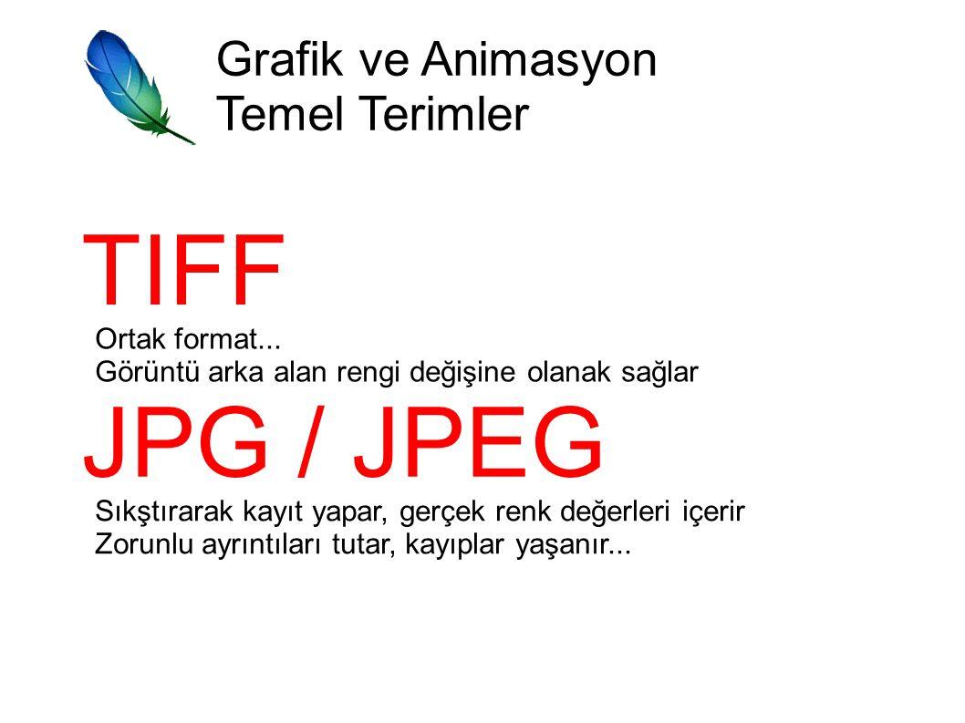 TIFF JPG / JPEG Grafik ve Animasyon Temel Terimler Ortak format...