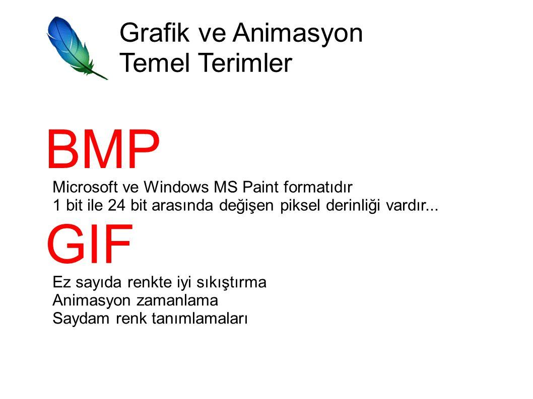 BMP GIF Grafik ve Animasyon Temel Terimler