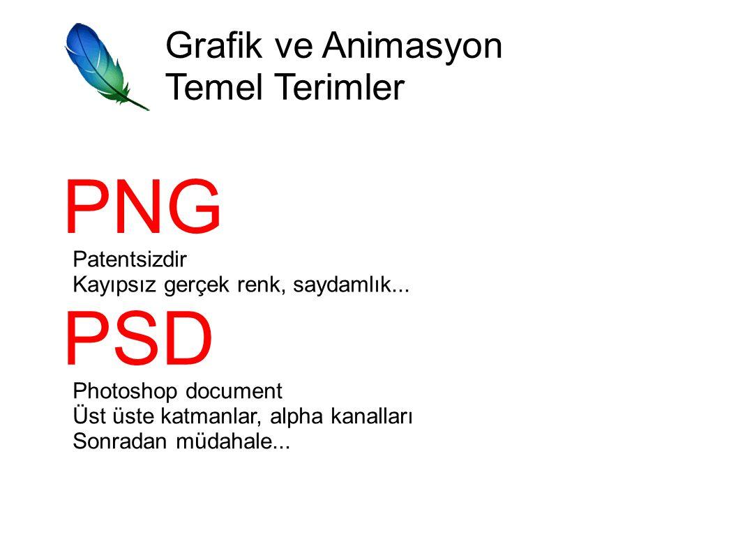 PNG PSD Grafik ve Animasyon Temel Terimler Patentsizdir
