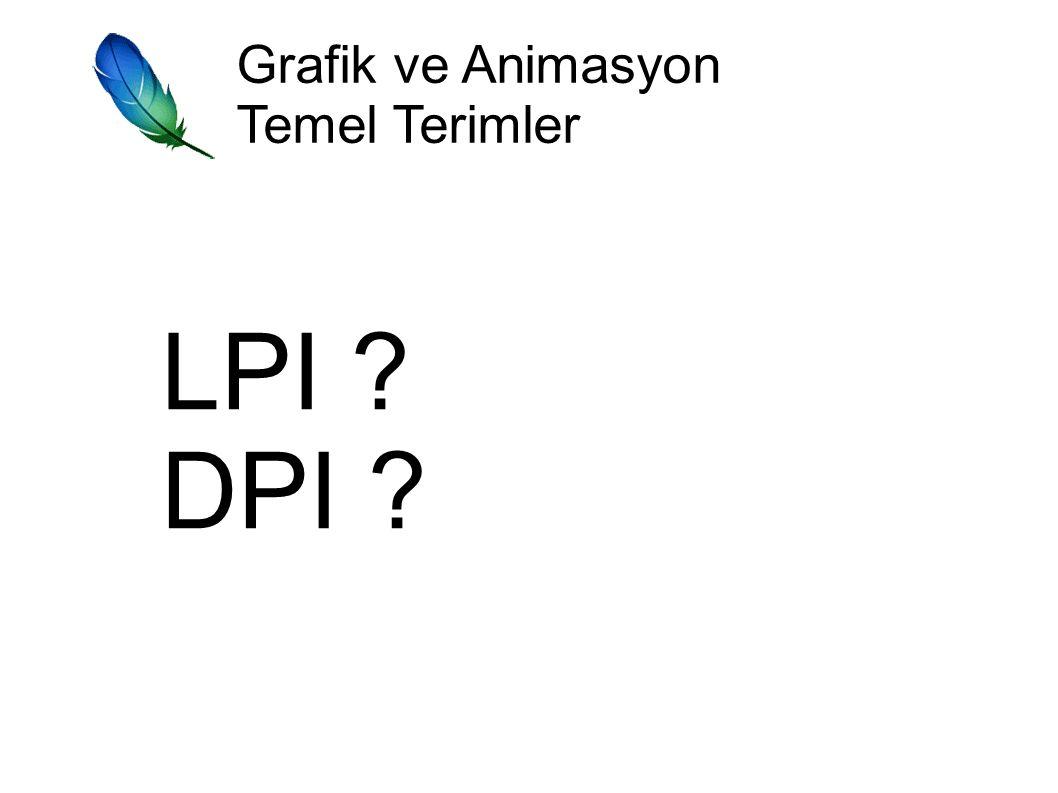 Grafik ve Animasyon Temel Terimler LPI DPI