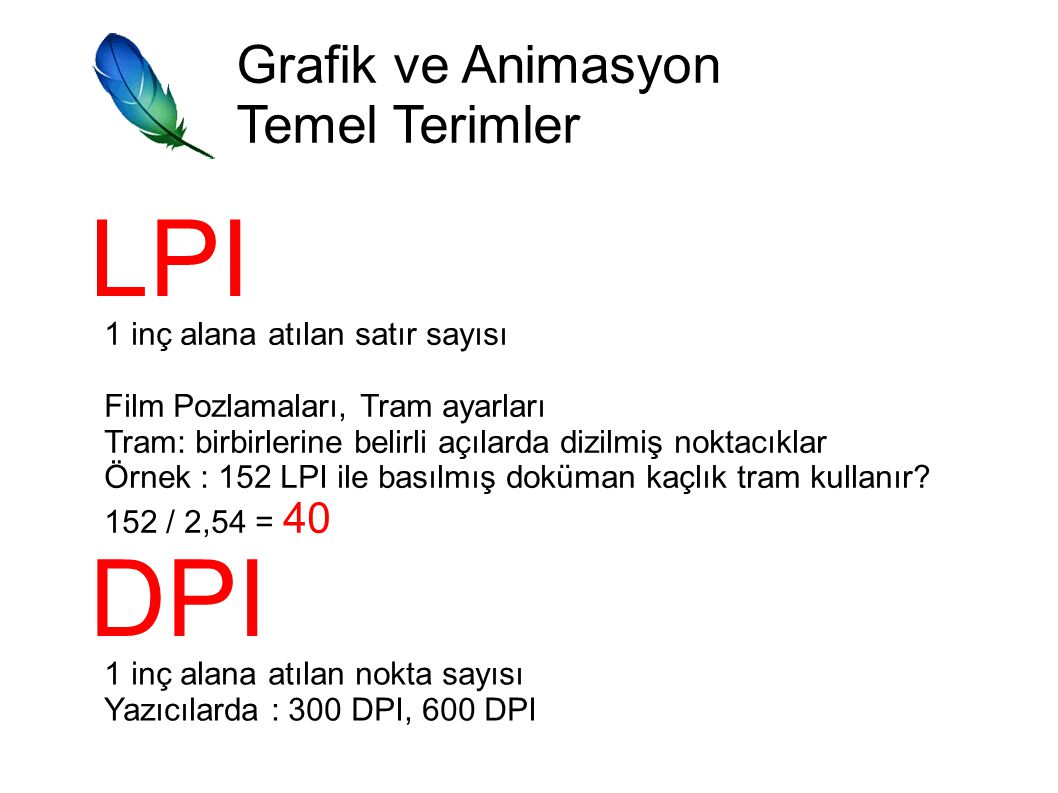 LPI DPI Grafik ve Animasyon Temel Terimler