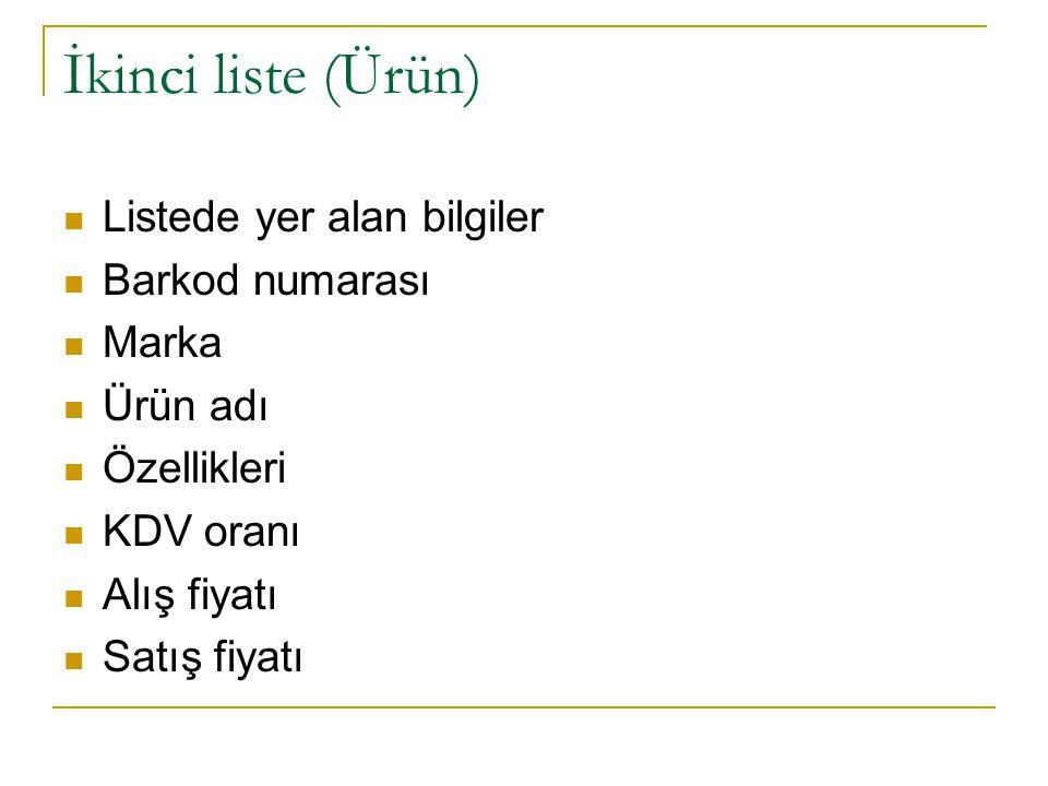 İkinci liste (Ürün) Listede yer alan bilgiler Barkod numarası Marka