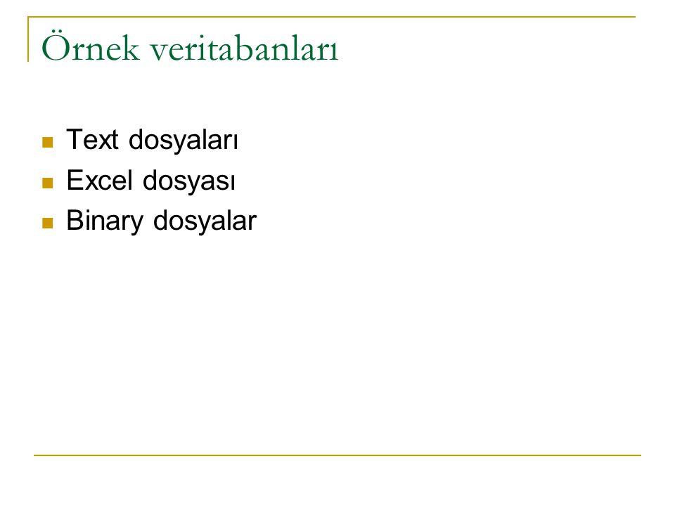 Örnek veritabanları Text dosyaları Excel dosyası Binary dosyalar