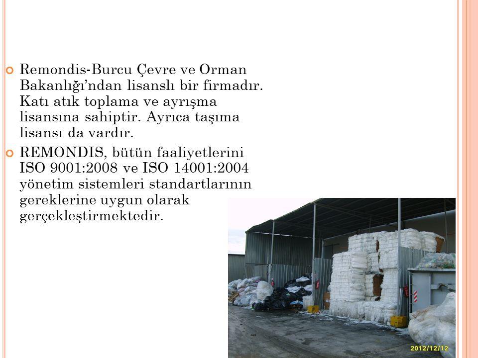 Remondis-Burcu Çevre ve Orman Bakanlığı'ndan lisanslı bir firmadır