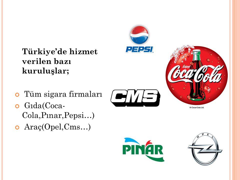 Türkiye'de hizmet verilen bazı kuruluşlar;