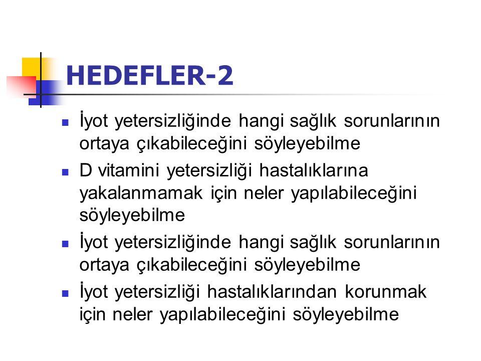 HEDEFLER-2 İyot yetersizliğinde hangi sağlık sorunlarının ortaya çıkabileceğini söyleyebilme.