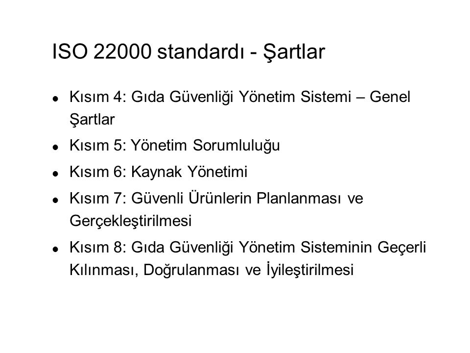 ISO 22000 standardı - Şartlar