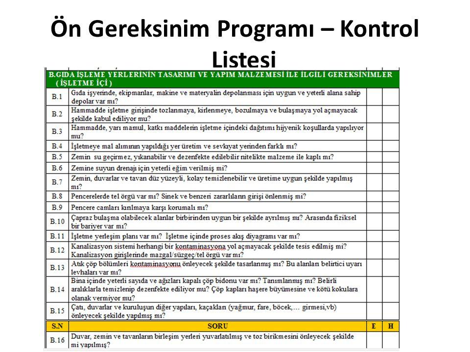 Ön Gereksinim Programı – Kontrol Listesi