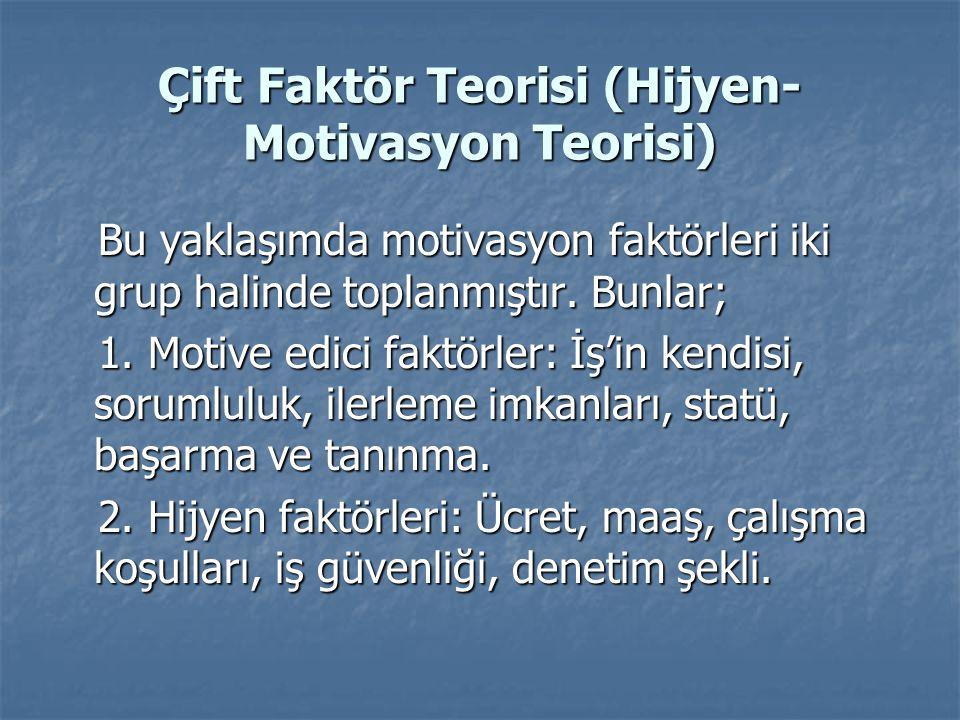Çift Faktör Teorisi (Hijyen-Motivasyon Teorisi)