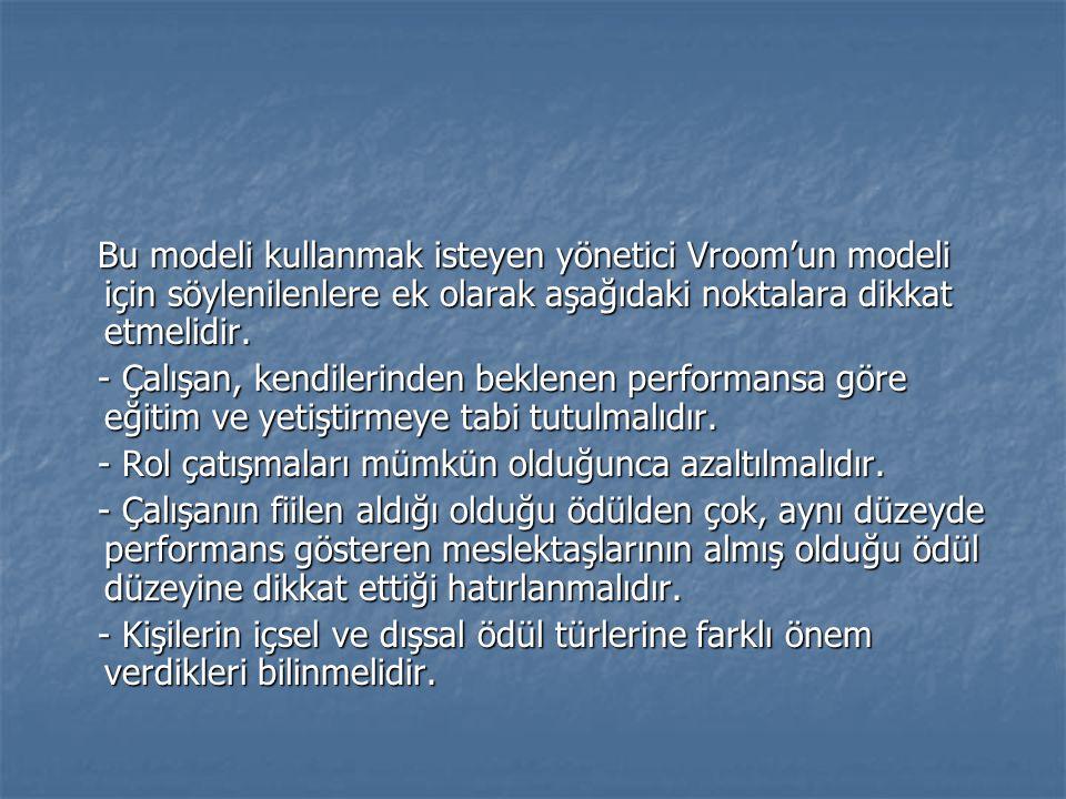 Bu modeli kullanmak isteyen yönetici Vroom'un modeli için söylenilenlere ek olarak aşağıdaki noktalara dikkat etmelidir.
