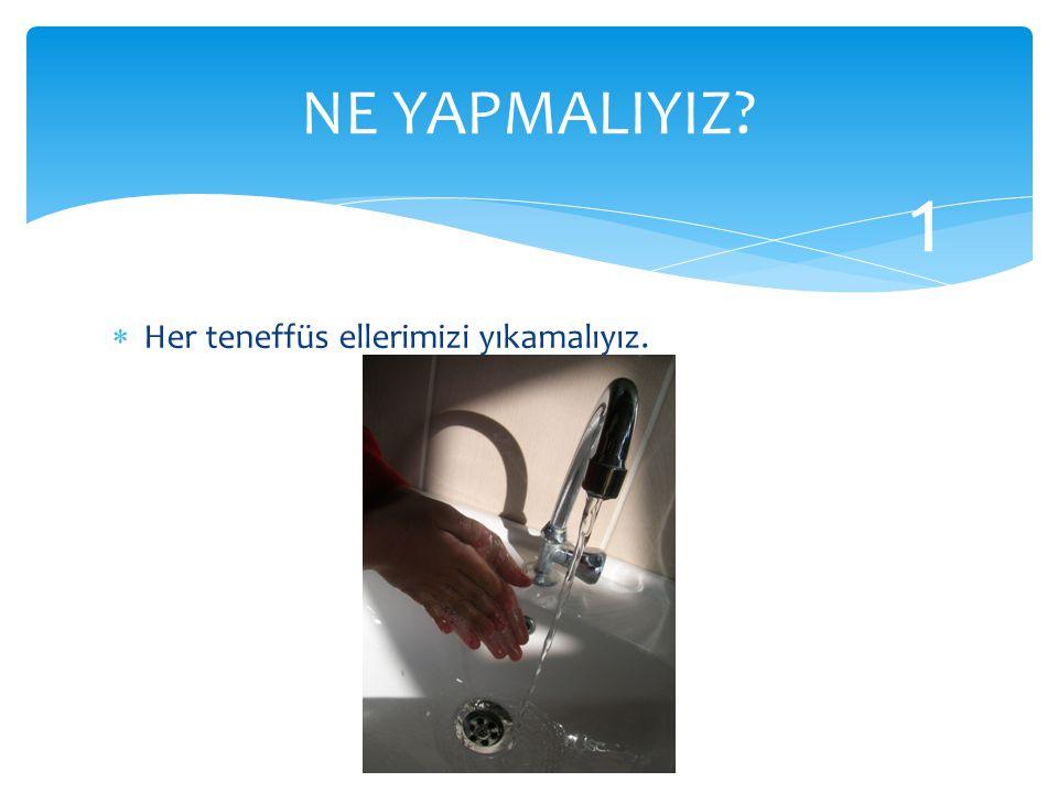 NE YAPMALIYIZ 1 Her teneffüs ellerimizi yıkamalıyız.