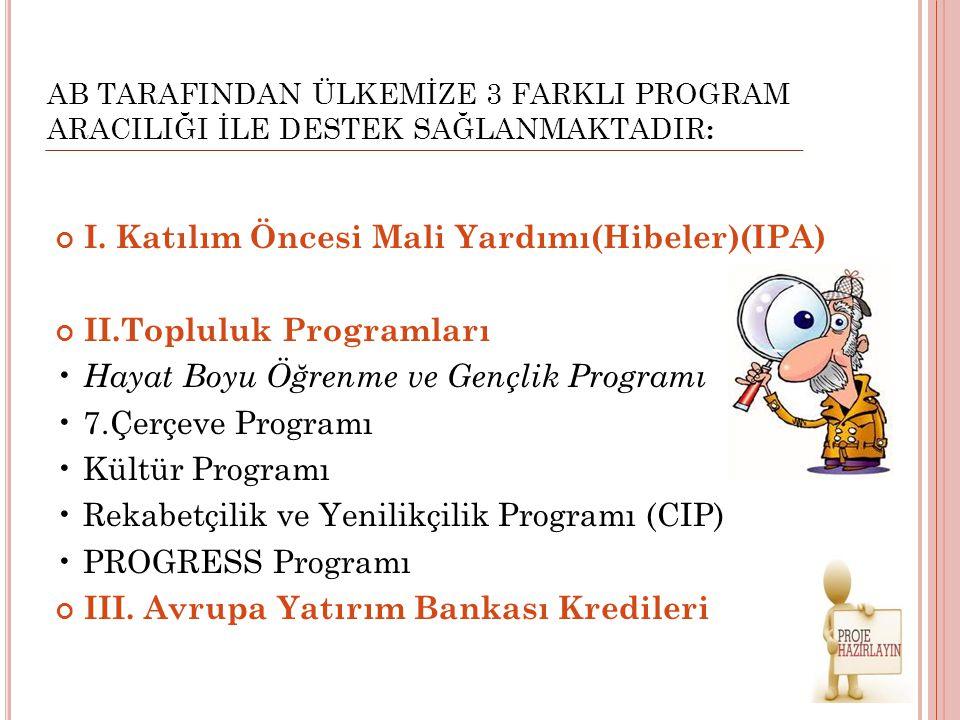 I. Katılım Öncesi Mali Yardımı(Hibeler)(IPA) II.Topluluk Programları