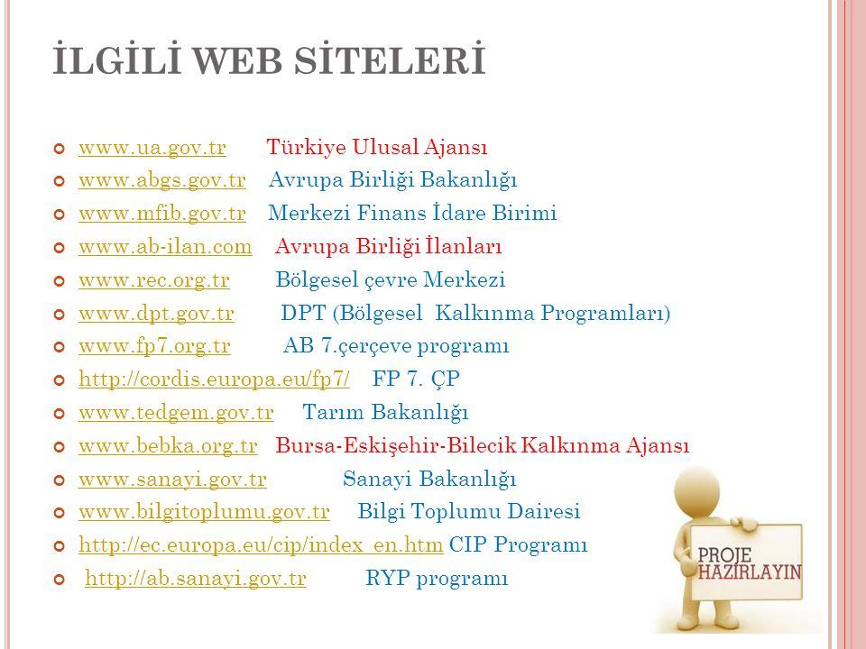 İLGİLİ WEB SİTELERİ www.ua.gov.tr Türkiye Ulusal Ajansı