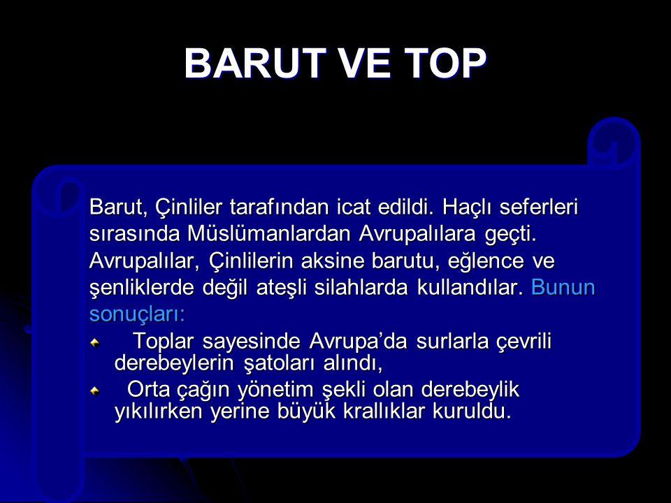 BARUT VE TOP Barut, Çinliler tarafından icat edildi. Haçlı seferleri