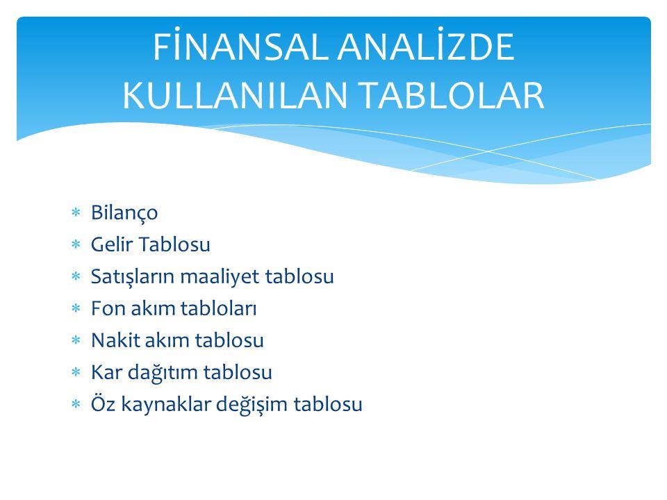 FİNANSAL ANALİZDE KULLANILAN TABLOLAR