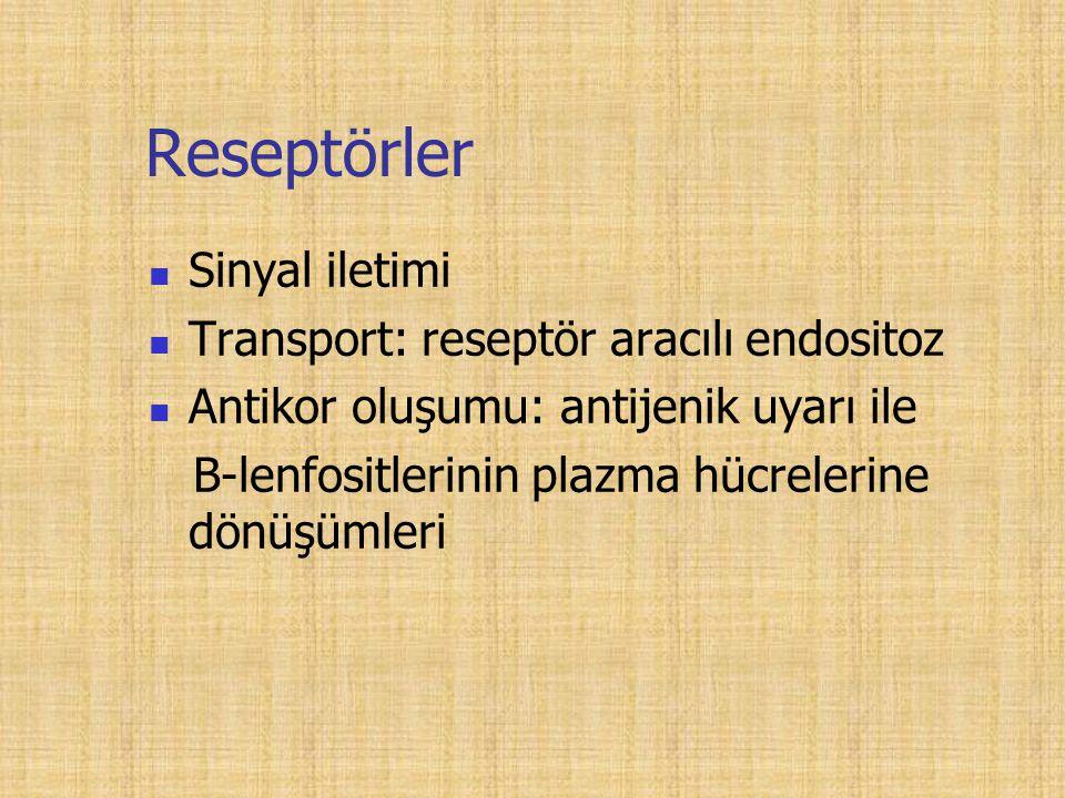 Reseptörler Sinyal iletimi Transport: reseptör aracılı endositoz