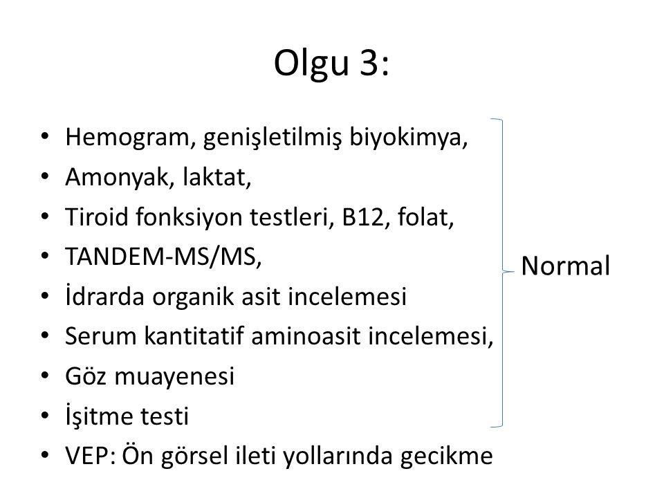Olgu 3: Normal Hemogram, genişletilmiş biyokimya, Amonyak, laktat,