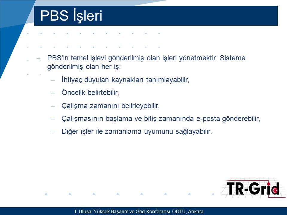 PBS İşleri I. Ulusal Yüksek Başarım ve Grid Konferansı, ODTÜ, Ankara