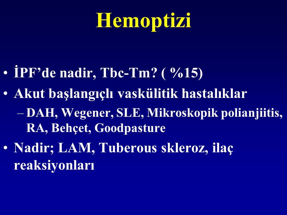 Hemoptizi İPF'de nadir, Tbc-Tm ( %15)