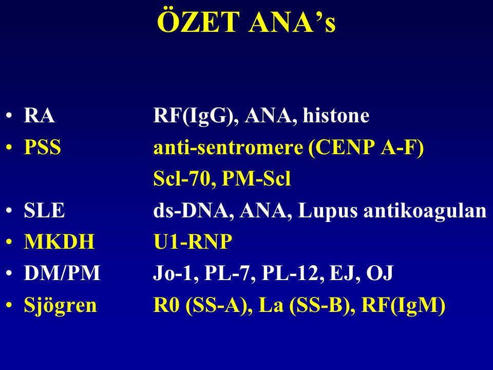 ÖZET ANA's RA RF(IgG), ANA, histone PSS anti-sentromere (CENP A-F)