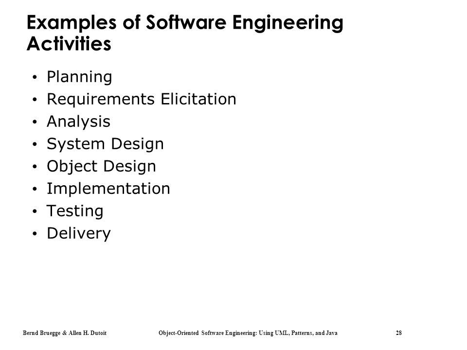 Examples of Software Engineering Activities