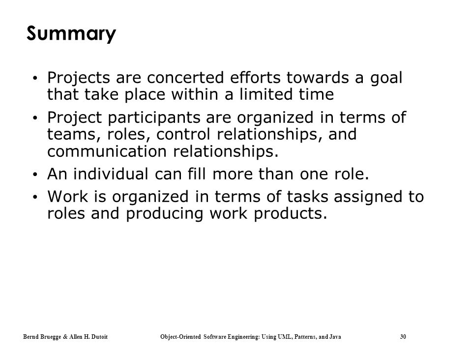 Summary Projects are concerted efforts towards a goal that take place within a limited time.