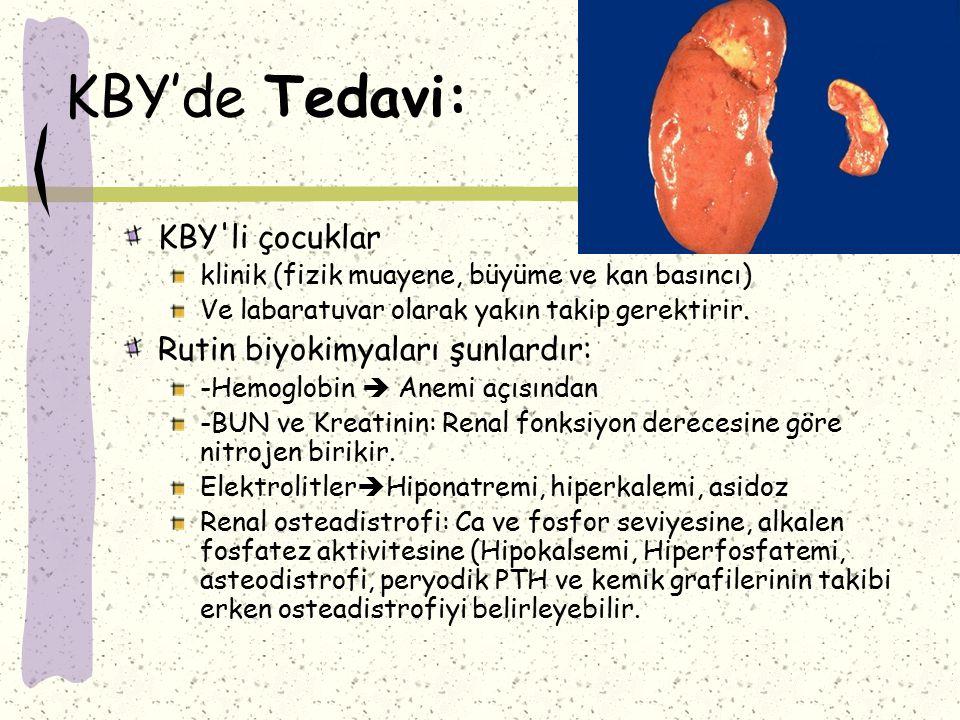 KBY'de Tedavi: KBY li çocuklar Rutin biyokimyaları şunlardır: