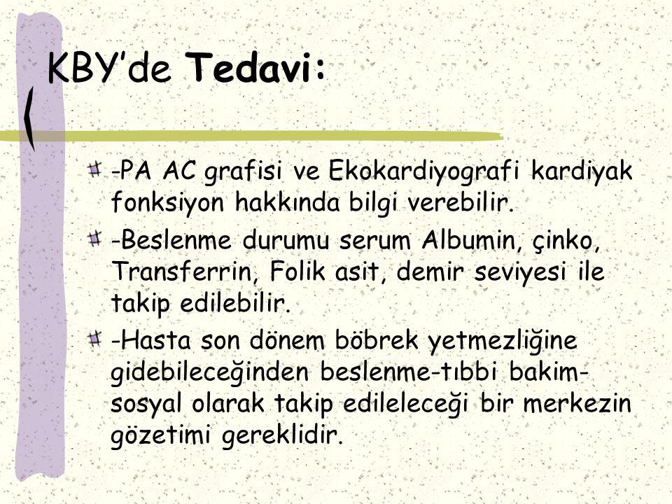 KBY'de Tedavi: -PA AC grafisi ve Ekokardiyografi kardiyak fonksiyon hakkında bilgi verebilir.