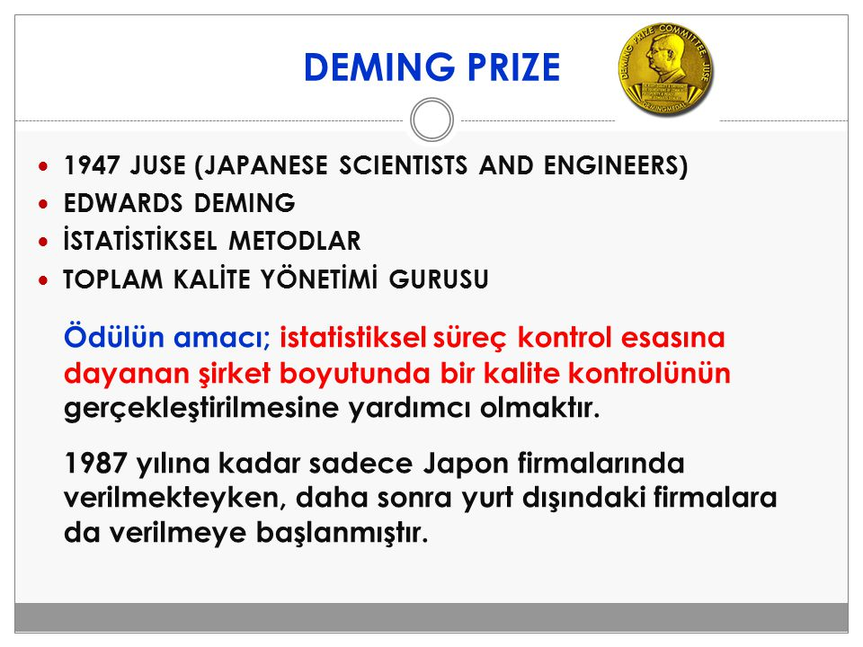 DEMING PRIZE 1947 JUSE (JAPANESE SCIENTISTS AND ENGINEERS) EDWARDS DEMING. İSTATİSTİKSEL METODLAR.