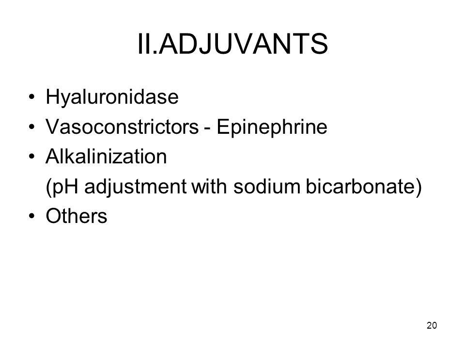 II.ADJUVANTS Hyaluronidase Vasoconstrictors - Epinephrine