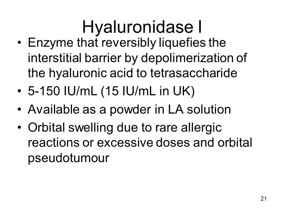 Hyaluronidase I Enzyme that reversibly liquefies the interstitial barrier by depolimerization of the hyaluronic acid to tetrasaccharide.