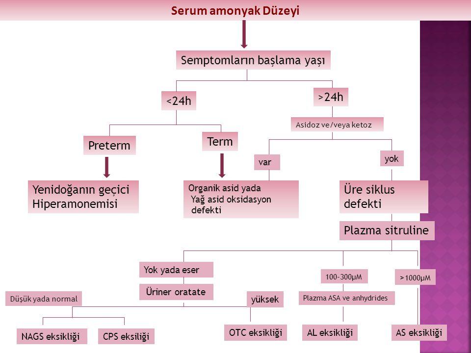 Serum amonyak Düzeyi Semptomların başlama yaşı >24h <24h Term