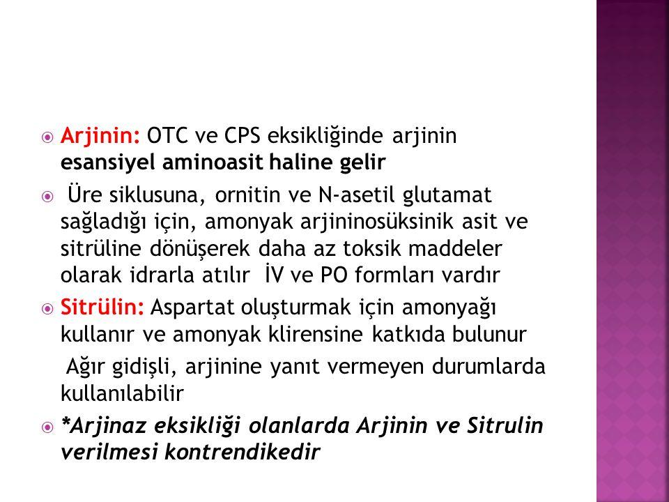 Arjinin: OTC ve CPS eksikliğinde arjinin esansiyel aminoasit haline gelir